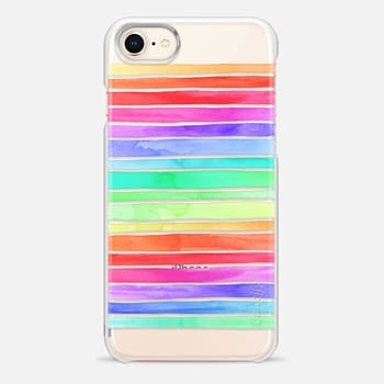 iPhone 8 Case Rainbow Pastel Watercolor Stripes on Clear