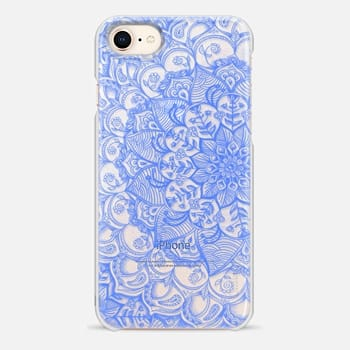 iPhone 8 Case Cornflower Blue Transparent Lace