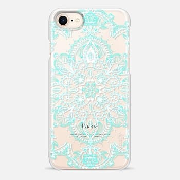 iPhone 8 Case Aqua and White Lace Mandala - transparent