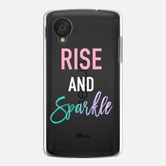 modern rise and sparkle pink turquoise glitter typography by
