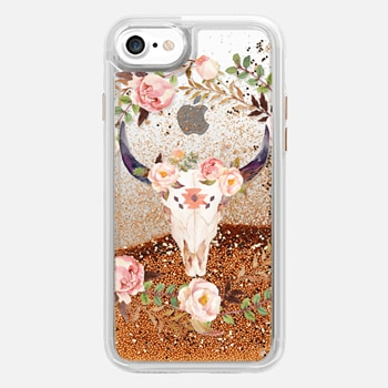 iPhone 7  Watercolour Floral Bull Skull - Transparent