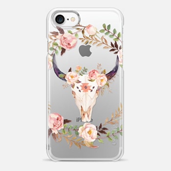 iPhone 7 Case Watercolour Floral Bull Skull - Transparent