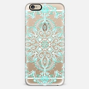 Aqua and White Lace Mandala - transparent