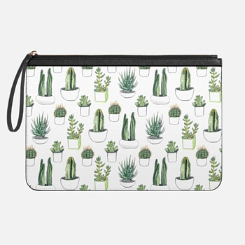 Medium Clutch  Watercolour Cacti & Succulents