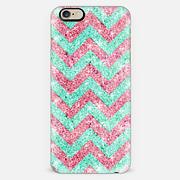 Chevron Pattern pink teal glitter photo print