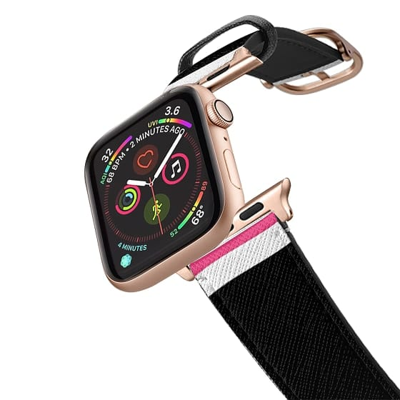 Apple Watch 42mm Bands - black pink white stripes 2