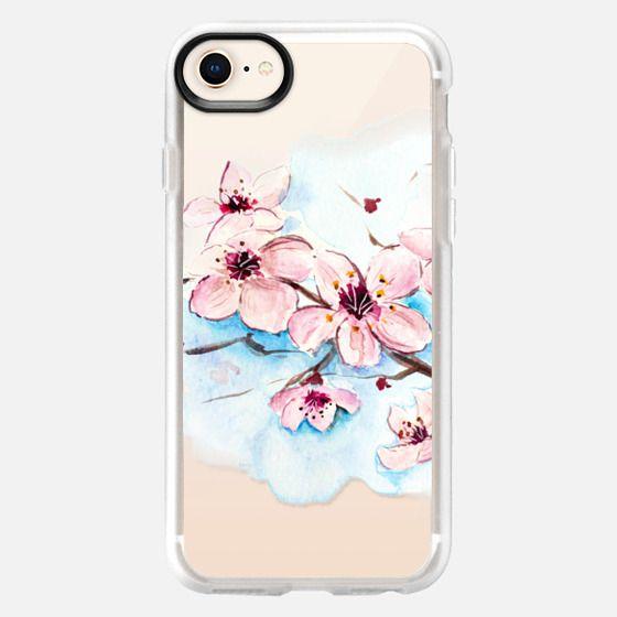 Sakura Watercolor Floral Painting Original Design Transparent - Snap Case