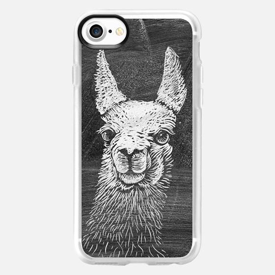 Black White Vintage Funny Llama Animal Art Drawing -