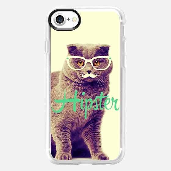 Turquoise Funny Cat Cute Hipster Glasses Mustache -