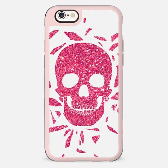 Girly Pink Glitter Abstract Skull Cool Photo Print -