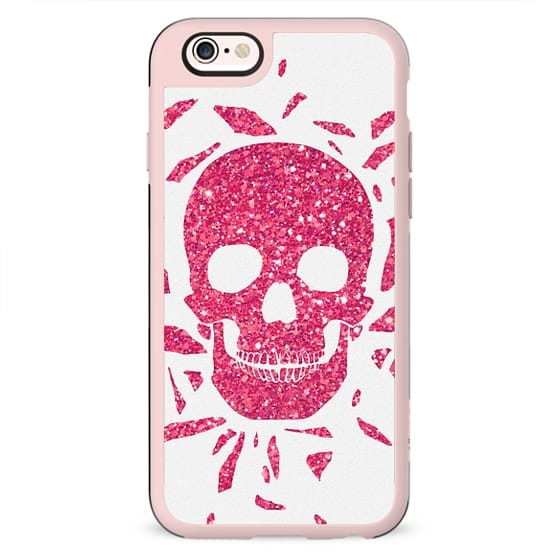 Girly Pink Glitter Abstract Skull Cool Photo Print