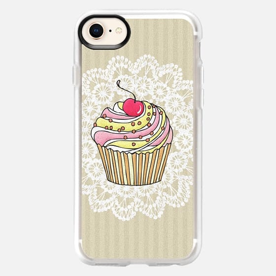 Girly Pink Cute Kawaii Cupcake Lace Stripe Pattern - Snap Case