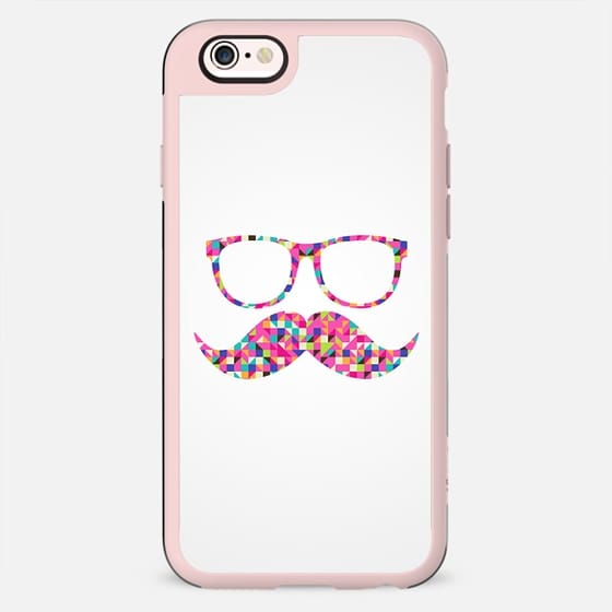 Funny Girly Pink Abstract Mustache Hipster Glasses