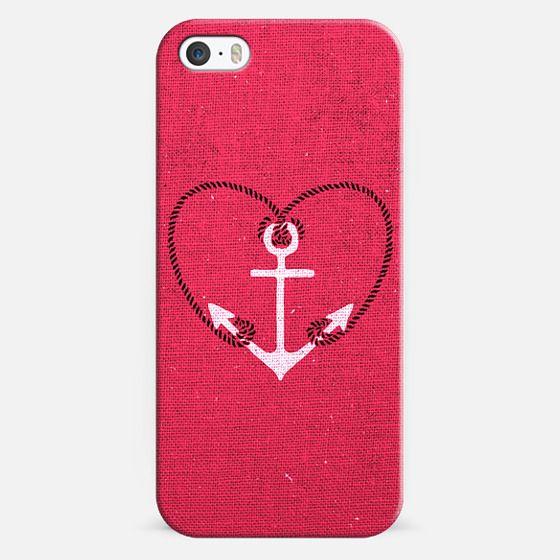 Fuschia Pink Vintage White Anchor Girly Love Heart -