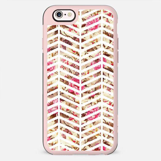 Pink Vintage Floral Girly Chevron Zig Zag Pattern -