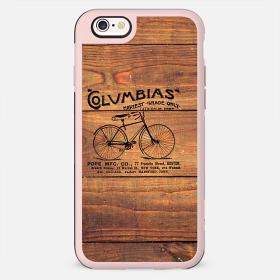 Black Brown Vintage American Bicycle on Wood Print -
