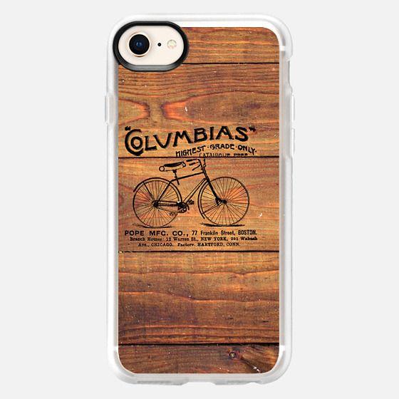 Black Brown Vintage American Bicycle on Wood Print - Snap Case