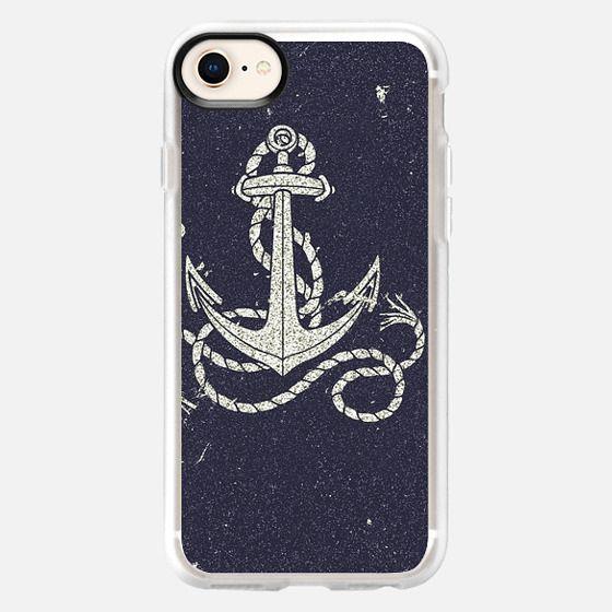 Navy Blue Nautical White Anchor for Sailor Texture - Snap Case