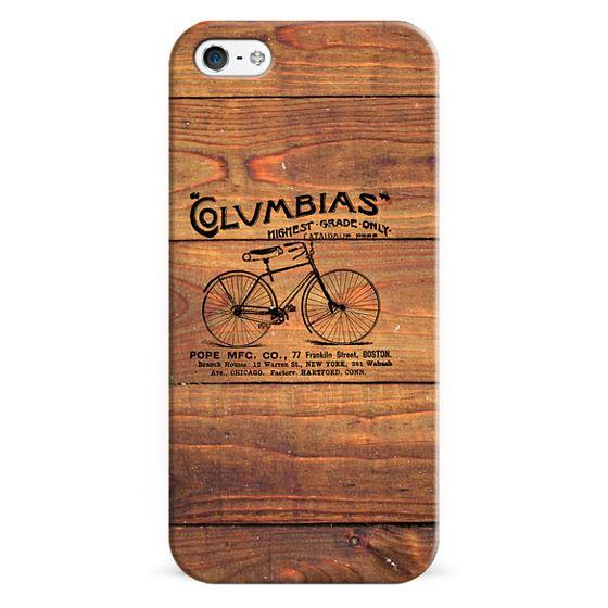 iPhone 6s Cases - Black Brown Vintage American Bicycle on Wood Print