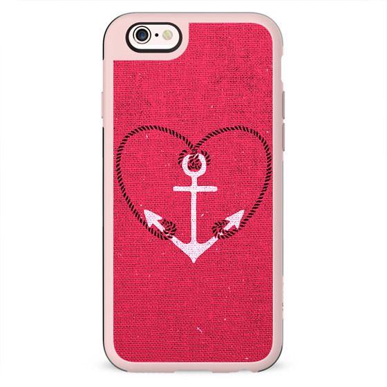 Fuschia Pink Vintage White Anchor Girly Love Heart