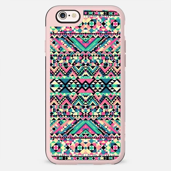 Pink Turquoise Girly Aztec Andes Tribal Pattern -