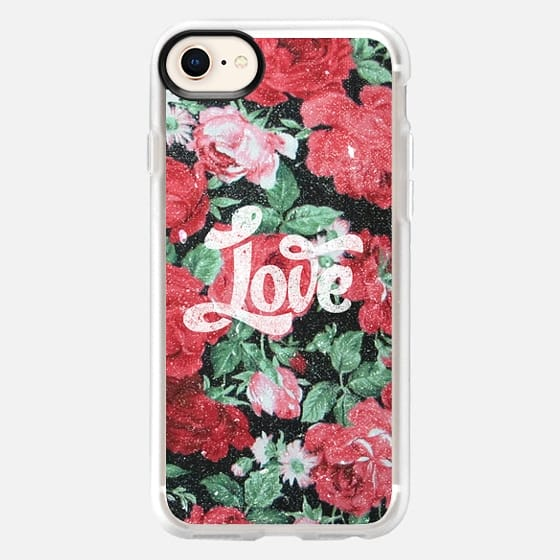 Red Pink Roses Chic Love Vintage Floral Pattern - Snap Case