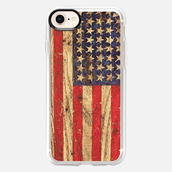Vintage Patriotic American Flag on Old Wood Grain - Snap Case