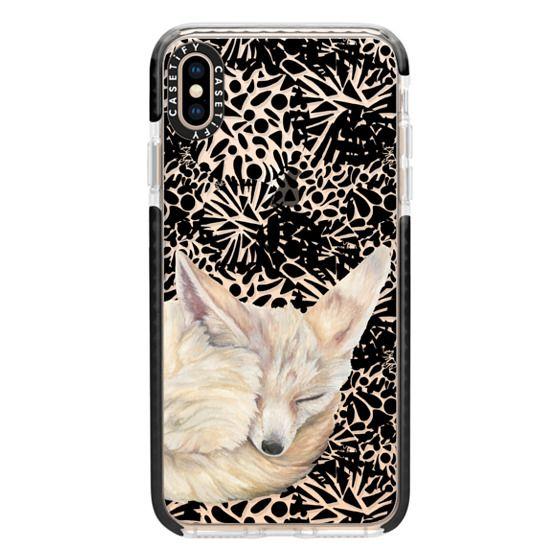 iPhone XS Max Cases - Sleeping Fennec Fox on Black