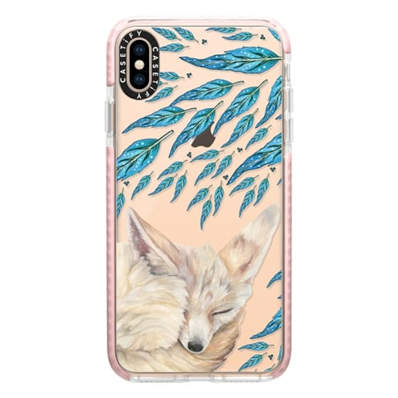 iPhone XS Max Cases - Fennec Fox Feather Dreams (Blue)