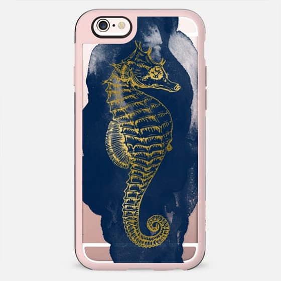 Navy & Gold Seahorse - New Standard Case