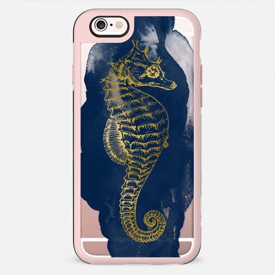 Navy & Gold Seahorse