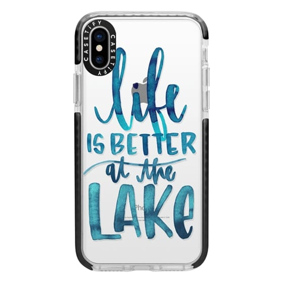 iPhone X Cases - Life is Better at the Lake   Watercolor   Hand Drawn Typography   Blue   Summer