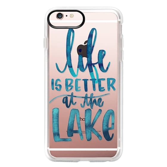 iPhone 6s Plus Cases - Life is Better at the Lake   Watercolor   Hand Drawn Typography   Blue   Summer