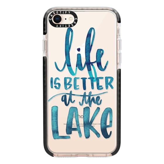 iPhone 8 Cases - Life is Better at the Lake | Watercolor | Hand Drawn Typography | Blue | Summer