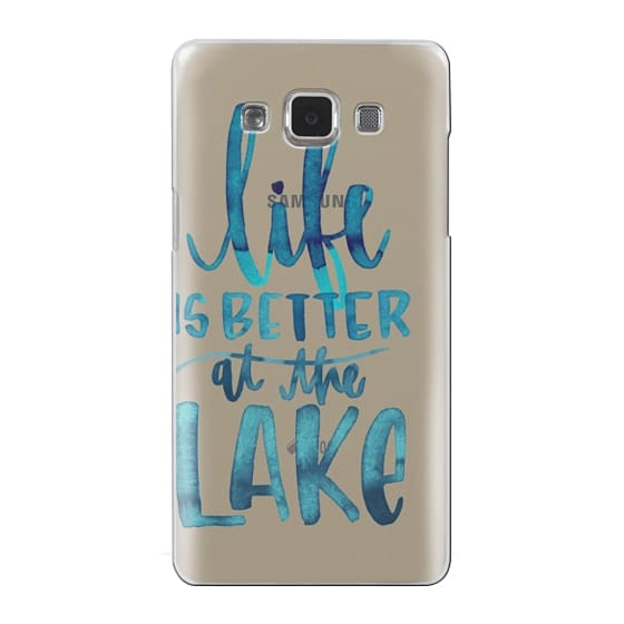 Samsung Galaxy A5 Cases - Life is Better at the Lake   Watercolor   Hand Drawn Typography   Blue   Summer