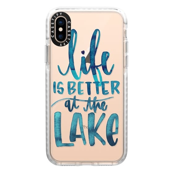 iPhone XS Cases - Life is Better at the Lake | Watercolor | Hand Drawn Typography | Blue | Summer