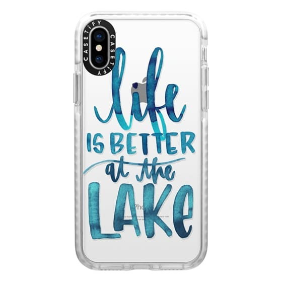 iPhone X Cases - Life is Better at the Lake | Watercolor | Hand Drawn Typography | Blue | Summer