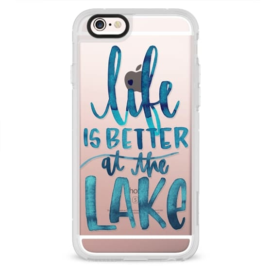 iPhone 4 Cases - Life is Better at the Lake | Watercolor | Hand Drawn Typography | Blue | Summer