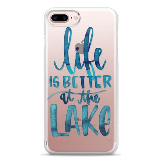 iPhone 7 Plus Cases - Life is Better at the Lake | Watercolor | Hand Drawn Typography | Blue | Summer