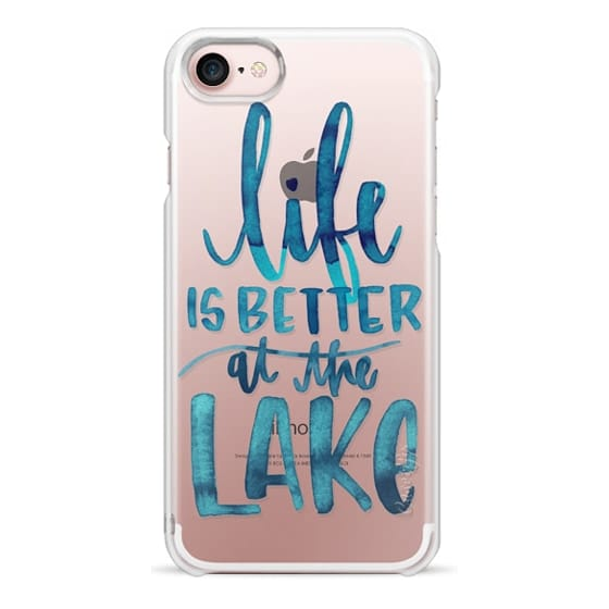 iPhone 7 Cases - Life is Better at the Lake | Watercolor | Hand Drawn Typography | Blue | Summer