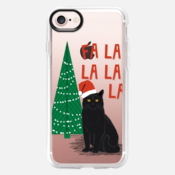 xmas fa la la la cat christmas holiday santa black cat pet friendly -