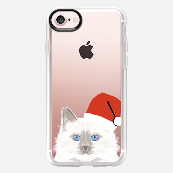 Cute White fluffy cat with santa hat christmas cell phone case transparent cat lady gift iphone case with white cat - Wallet Case