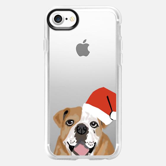 English Bulldog with santa hat - Wallet Case