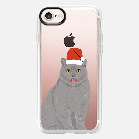 Beautiful cat with christmas hat cell phone transparent case for christmas holiday outfit for cat - Wallet Case