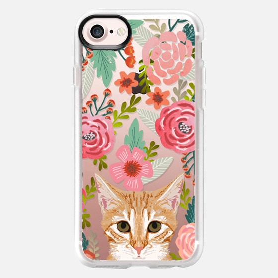 Orange Tabby Cat Florals - sweetest orange cat in hand painted watercolor florals design on clear phone case for cat ladies and cat owners -
