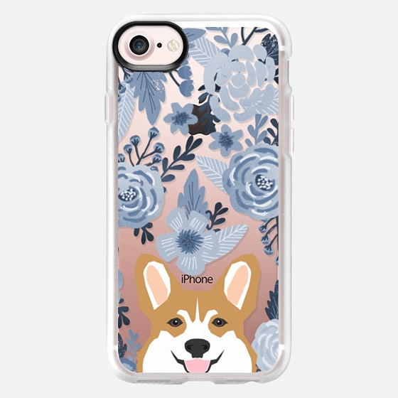 Cute Corgi Florals - blue style cute flowers painted flowers clear phone case for corgi owners - Classic Grip Case