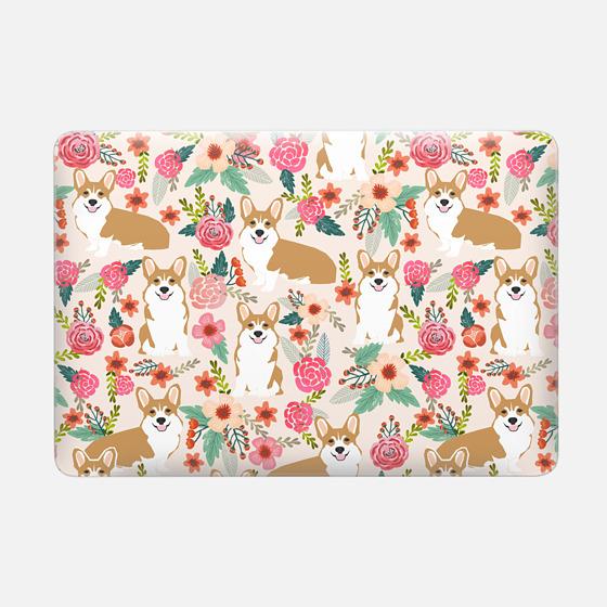 Welsh Corgi florals pastel pink blooms bouquets of hipster flowers corgi laptop macbook sleeve