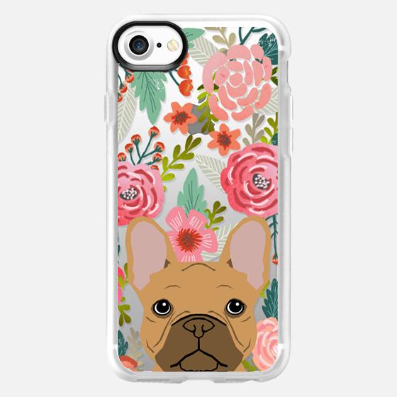 French Bulldog tan cute pet portrait florals spring summer flowers transparent cell phone case  -