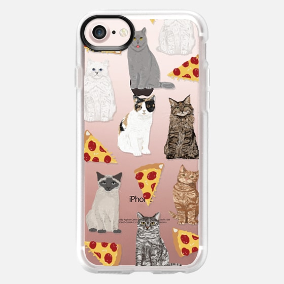 Cats and pizza cute junk food pizza slice cell phone case cat lady must have iphone6 accessories for tech devices - Wallet Case