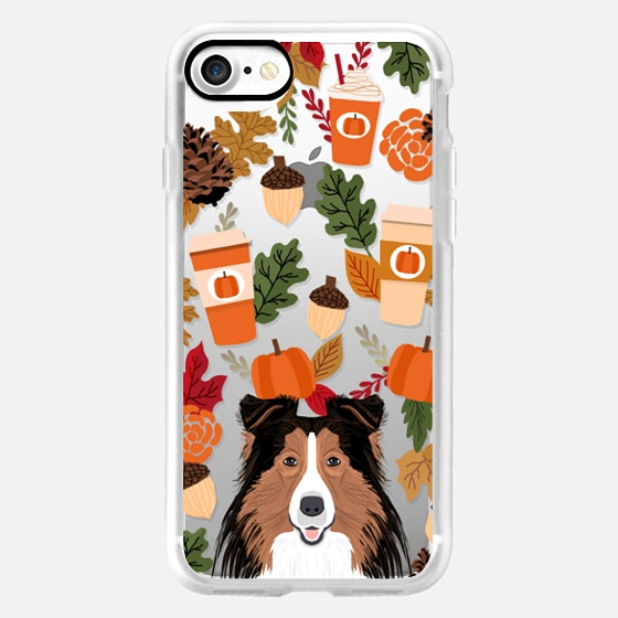 Collie gifts idea lassie must have fall autumn themed fall leaves pumpkin spiced latte coffee lover iphone transparent cases -
